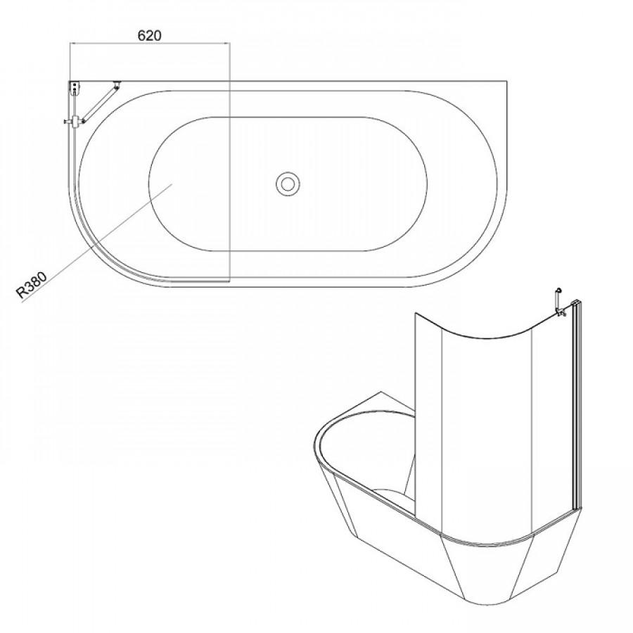 Combi Wand2 : Baignoire 170x80 + écran courbe - JACUZZI