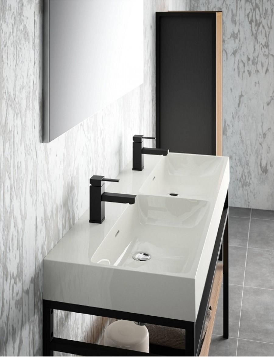 Meuble double-vasque STEEL 120 cm - Acier Noir + Hêtre Lamina Naturel