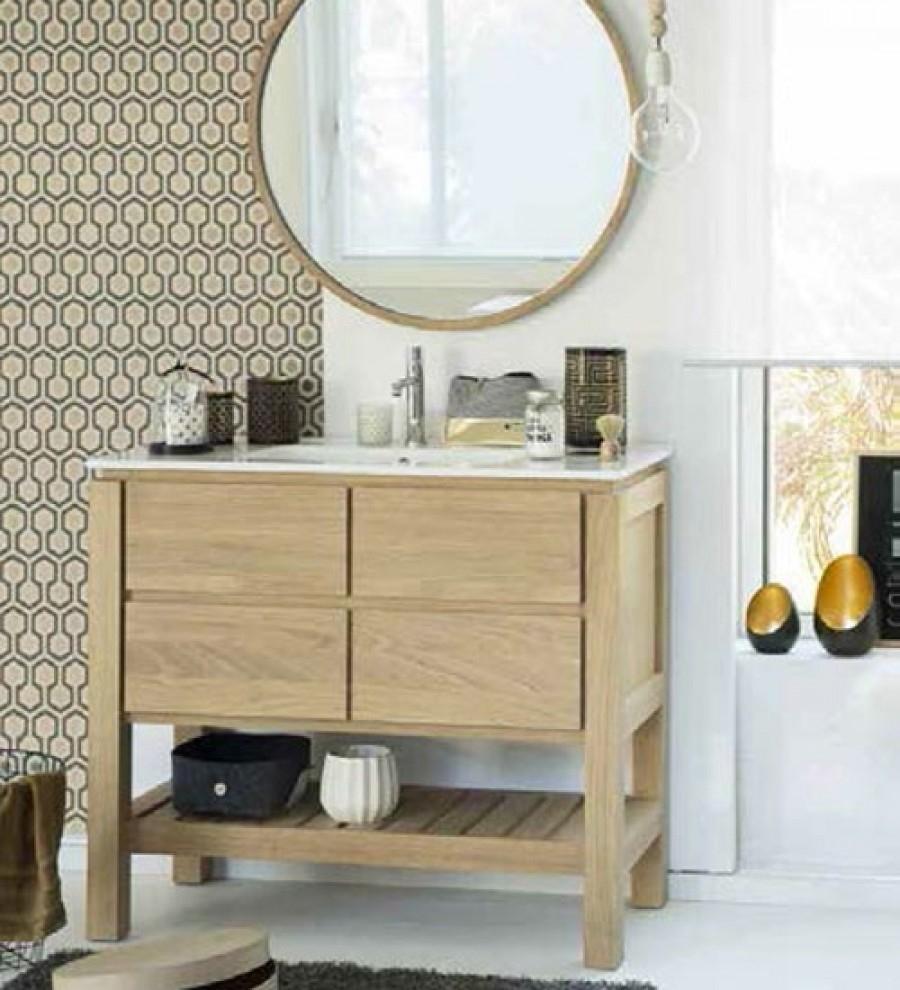 meuble simple vasque easy 80 cm ch ne massif. Black Bedroom Furniture Sets. Home Design Ideas