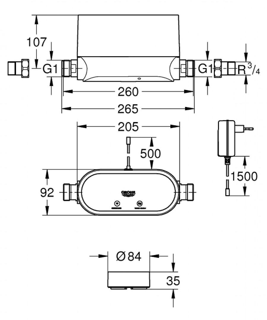 d tecteur de fuite d 39 eau grohe sense guard meuble de salle de bain douche. Black Bedroom Furniture Sets. Home Design Ideas