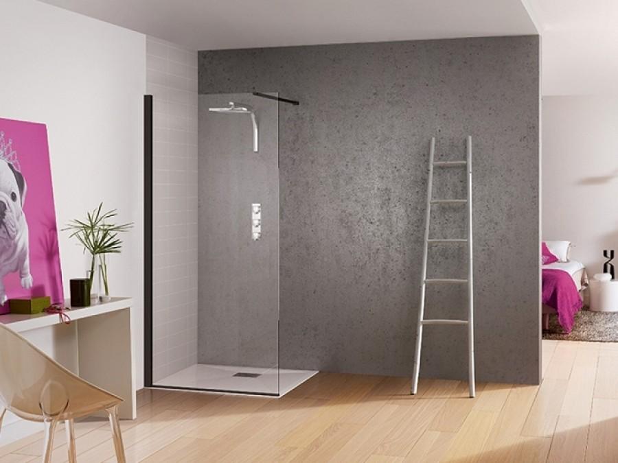 paroi de douche fixe kinespace solo noir 70 cm barre de renfort droite. Black Bedroom Furniture Sets. Home Design Ideas