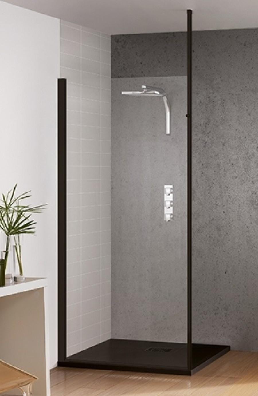 paroi de douche fixe kinespace solo noir 70 cm m t sol. Black Bedroom Furniture Sets. Home Design Ideas
