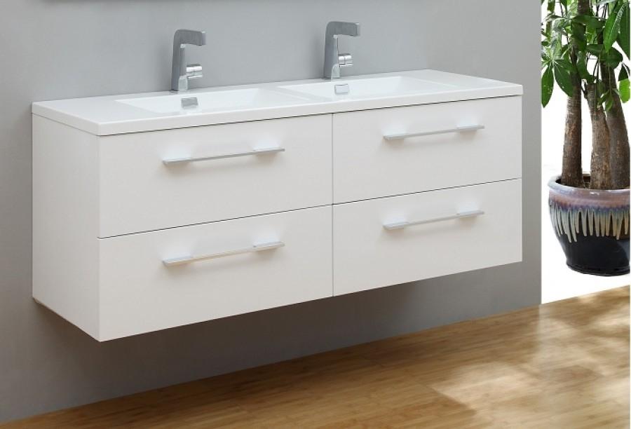 meuble vasque saturn 140 cm blanc brillant