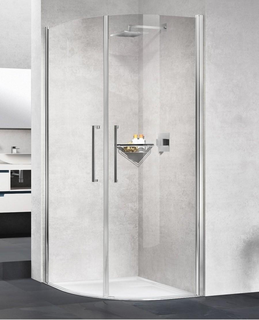 Paroi De Douche 1 4 De Rond Young 2 0 R2 Lux Transparent Silver 100x100 Cm