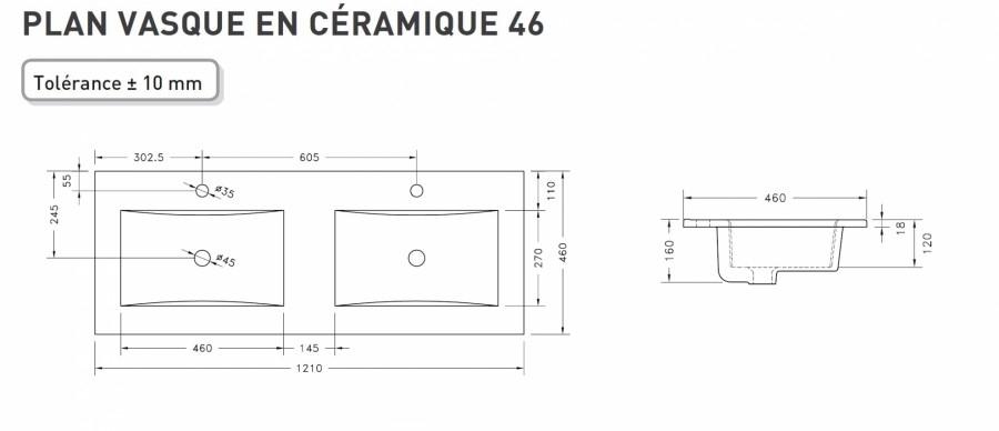 Meuble Double Vasque Harmonie Cristal Blanc Et Anthracite