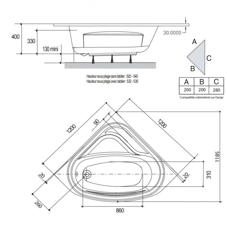Baignoire D Angle Varia 120x120 Cm Sans Tablier