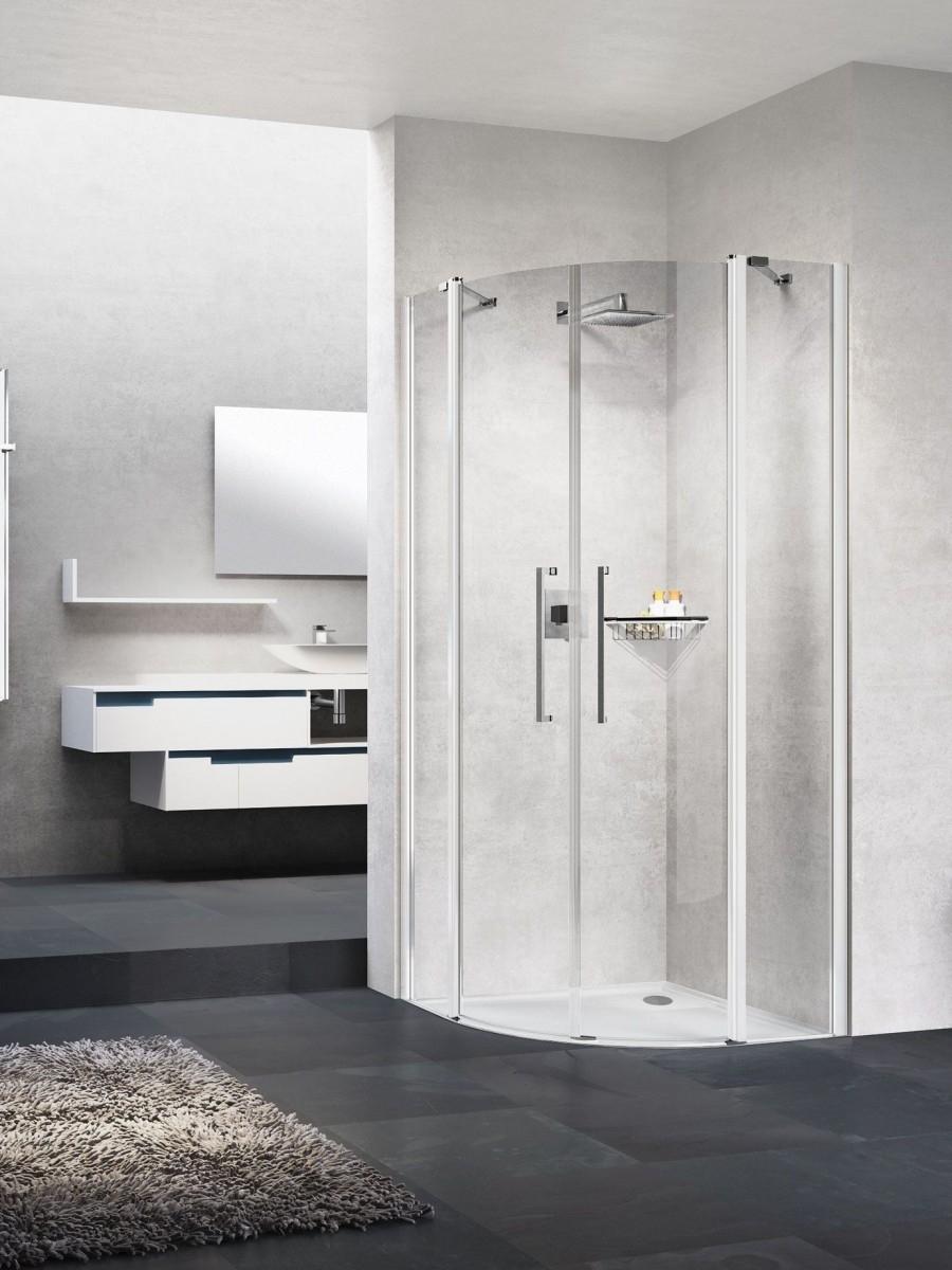 Paroi quart de cercle YOUNG R2 2 portes battantes et 2 fixes en alignement - Silver - 100x100cm