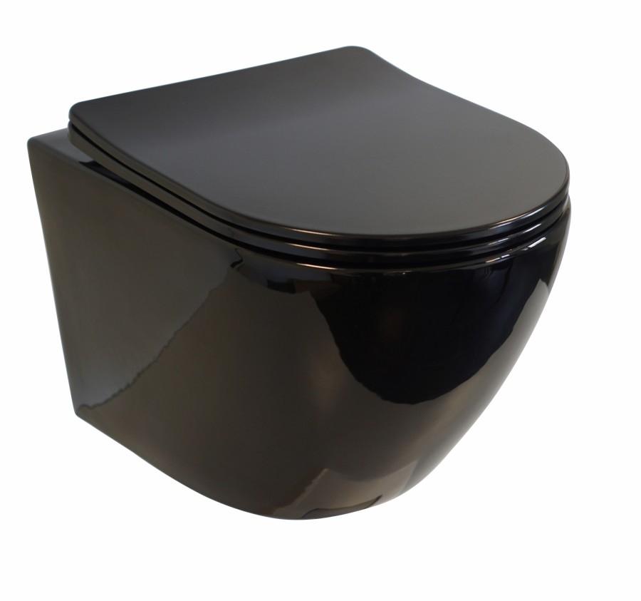 Cuvette suspendue sans bride KELOS Noir brillant avec abattant