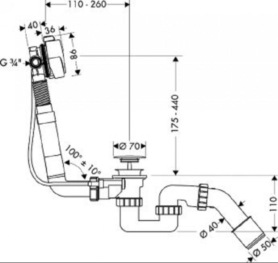 vidage de baignoire bec d verseur exafill s 58113 meuble de salle de bain. Black Bedroom Furniture Sets. Home Design Ideas