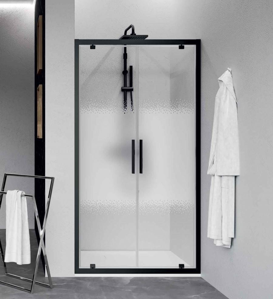Paroi 2 portes battantes KUADRA 2.0 2B - Sérigraphie Rose - Profilé Noir - 70cm