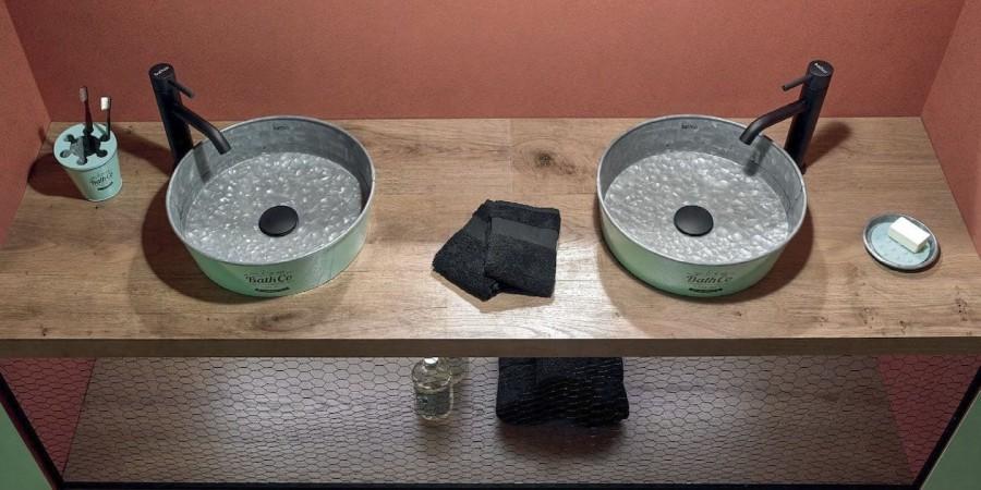 Ensemble de salle de bains KIOTO en Zinc Aquamarine