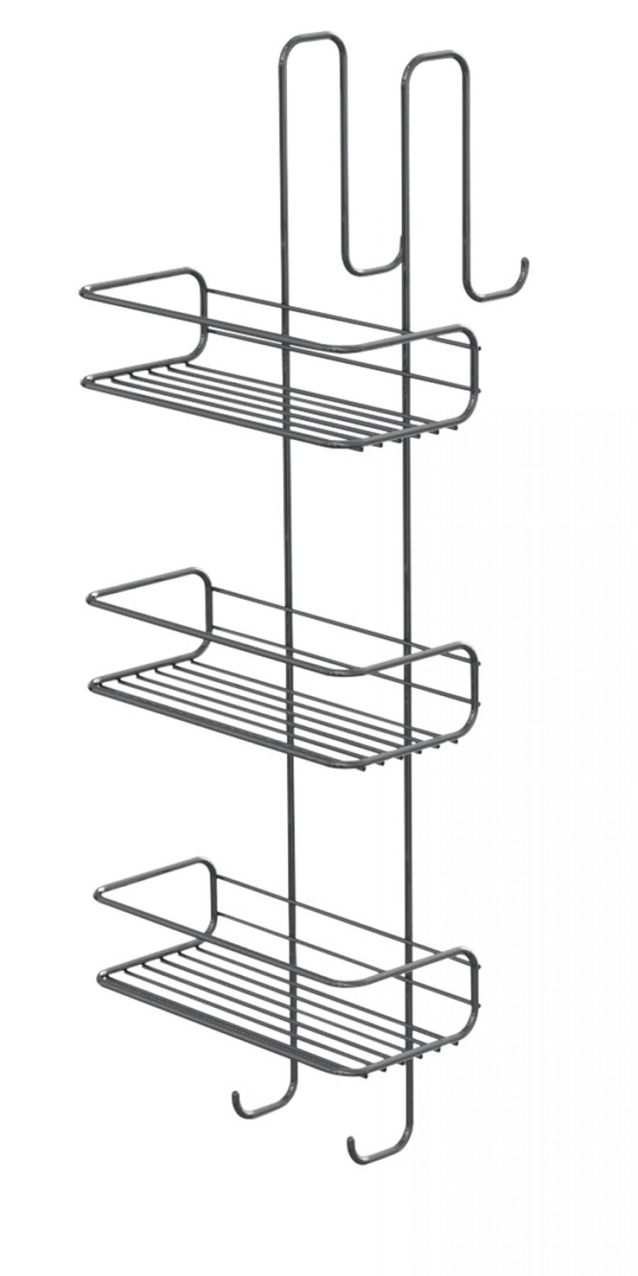 Porte-objets filaire TITO 3 bacs rectangulaires - Chromé