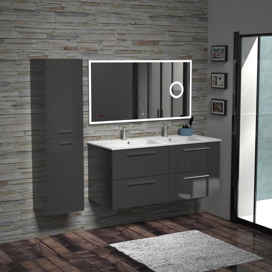 Meuble double vasque BIZ 120 cm Gris Brillant + Miroir Lite