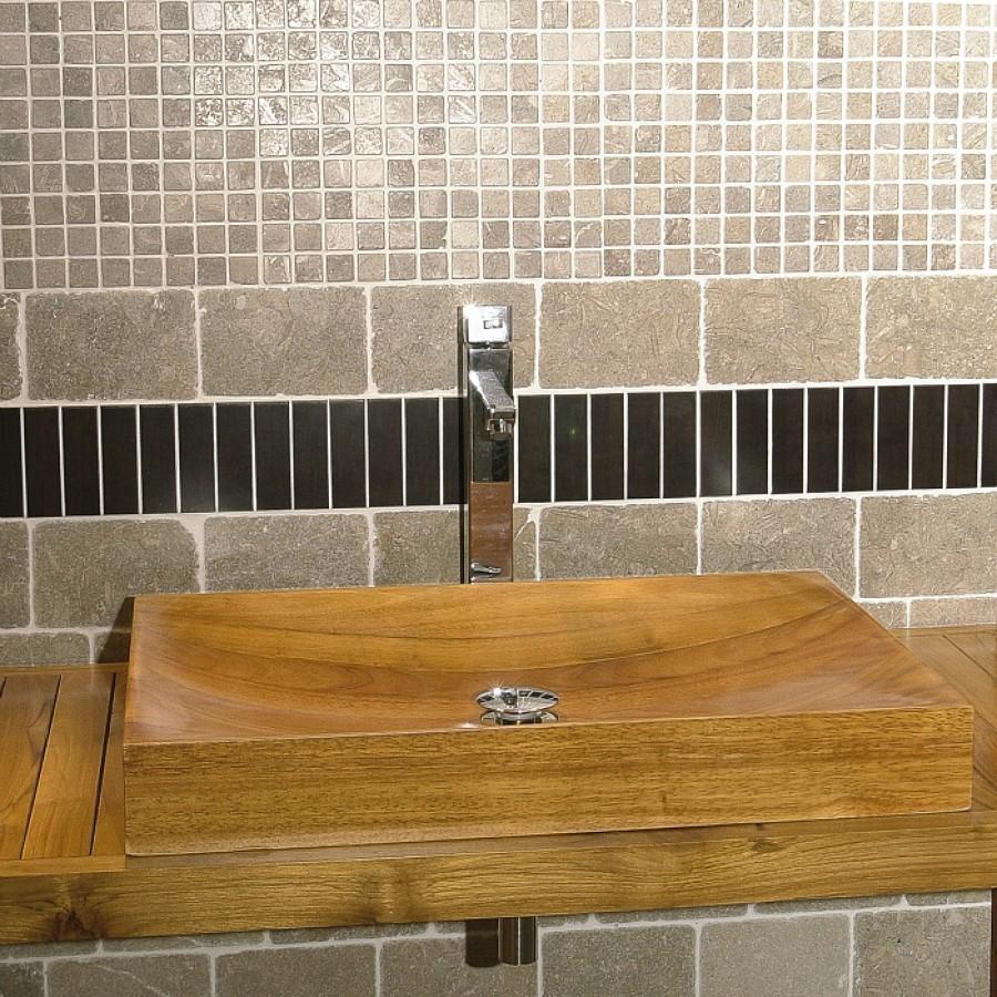 Vasque en bois rectangulaire bati orient bobo05 for Bati de porte en bois