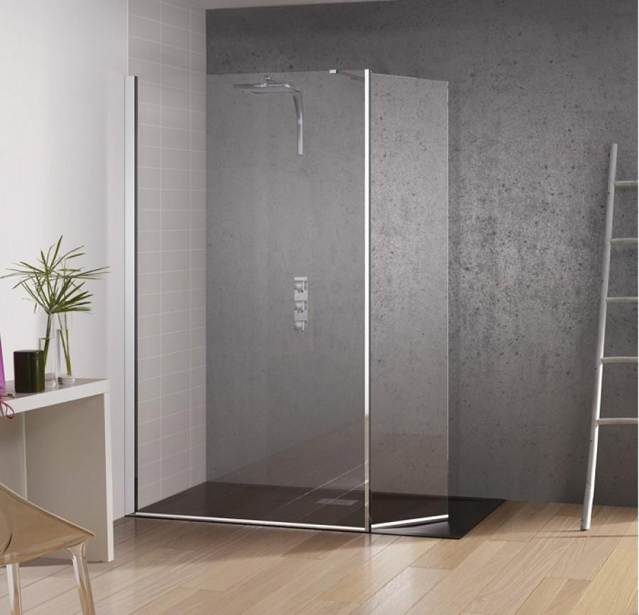 Paroi de douche fixe volet pivotant kinespace duo 70 meubl - Paroi douche fixe avec volet pivotant ...