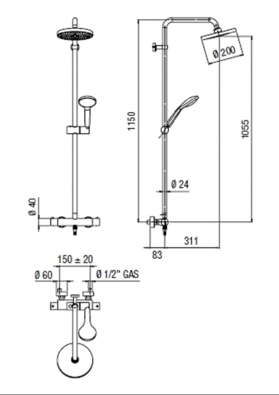 hauteur colonne de douche free colonne de douche mitigeur