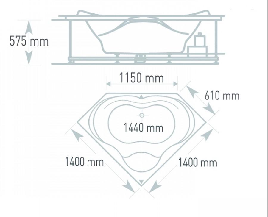 baignoire baln o ergonomique d 39 angle 140x140 concept. Black Bedroom Furniture Sets. Home Design Ideas