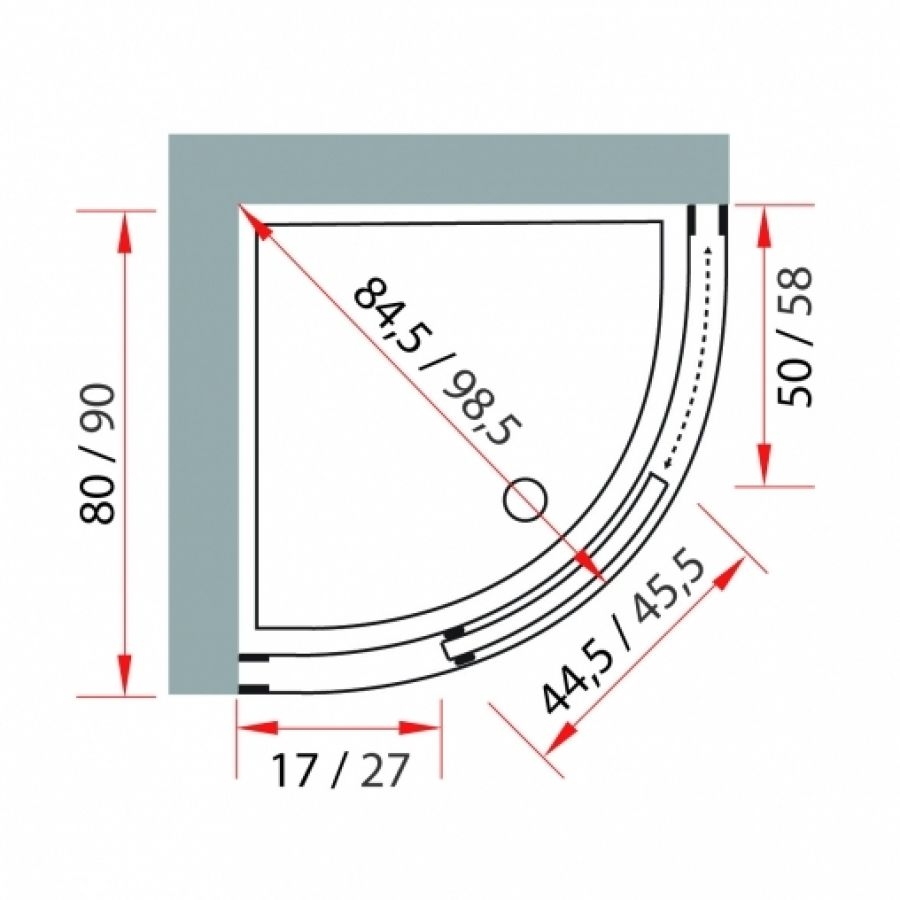 paroi de douche 1 4 de rond altay 90 cm jacuzzi meuble de salle de bain douche. Black Bedroom Furniture Sets. Home Design Ideas