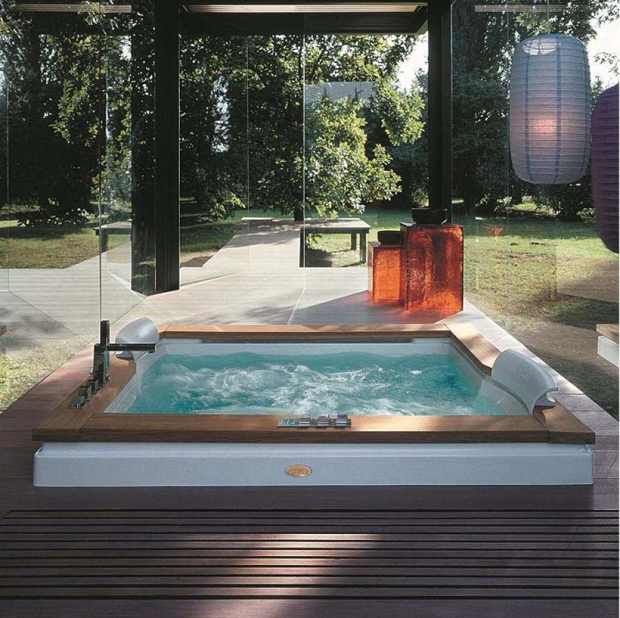baignoire baln o 2 places aura plus 180x150 teck jacuzzi. Black Bedroom Furniture Sets. Home Design Ideas