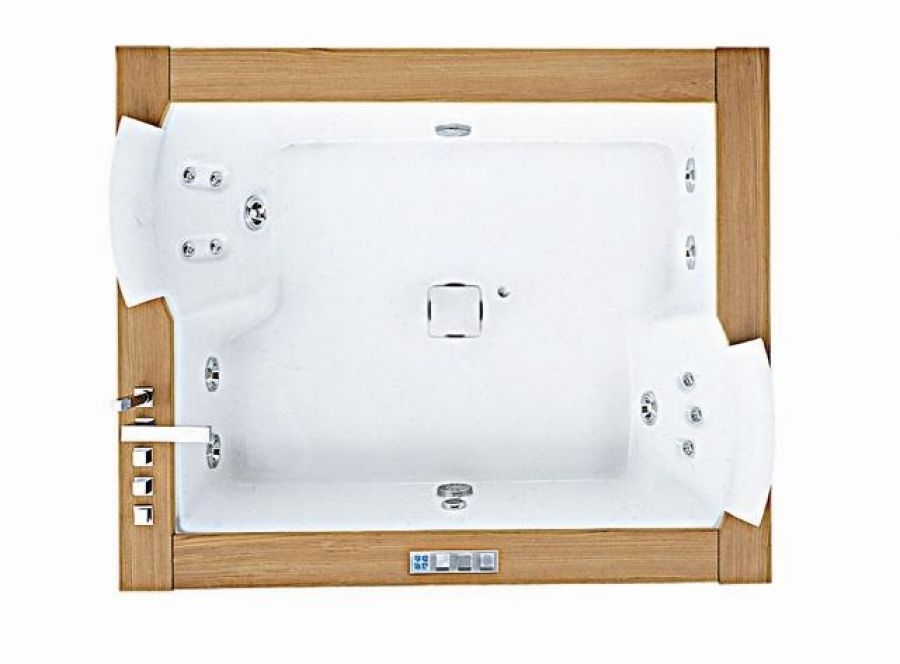 Baignoire baln o 2 places aura plus 180x150 teck meuble - Baignoire balneo 2 places ...
