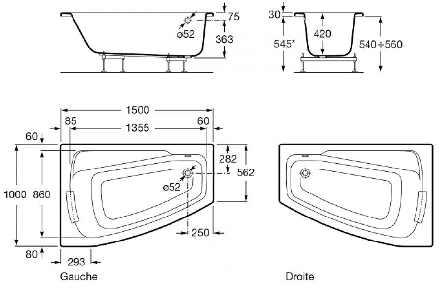 dimension baignoire asymetrique meuble double vasque b083 blanc achat vente plan - Dimension Meuble Double Vasque