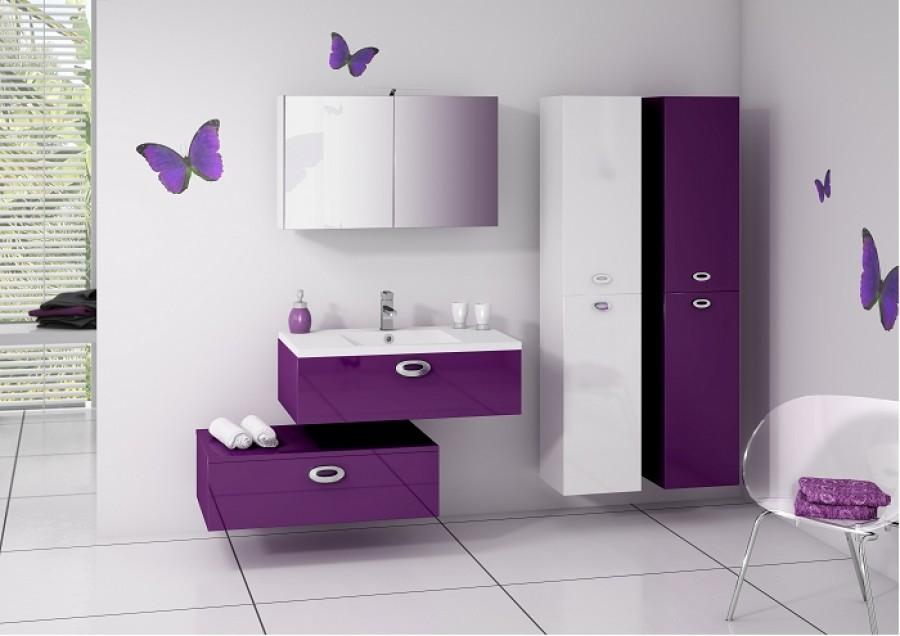 Meuble salle de bain prune for Carrelage couleur prune