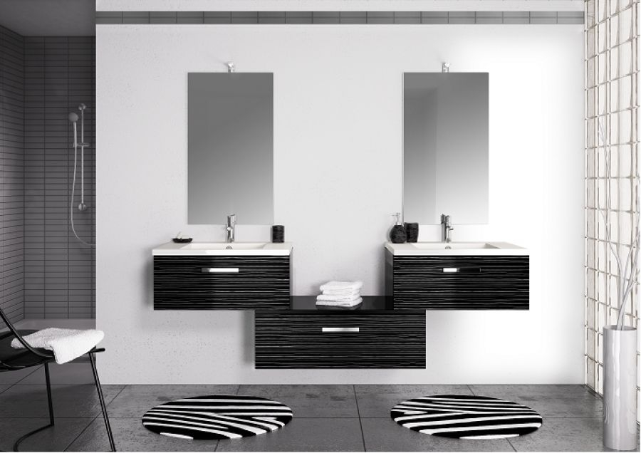 meuble double vasque vogue 70 serigloss meuble de salle de bain douche. Black Bedroom Furniture Sets. Home Design Ideas