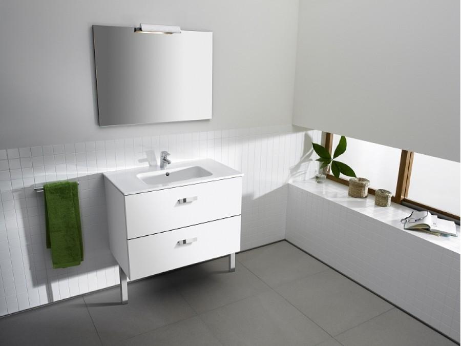 Meuble simple vasque unik victoria blanc 80cm for Meuble vasque roca