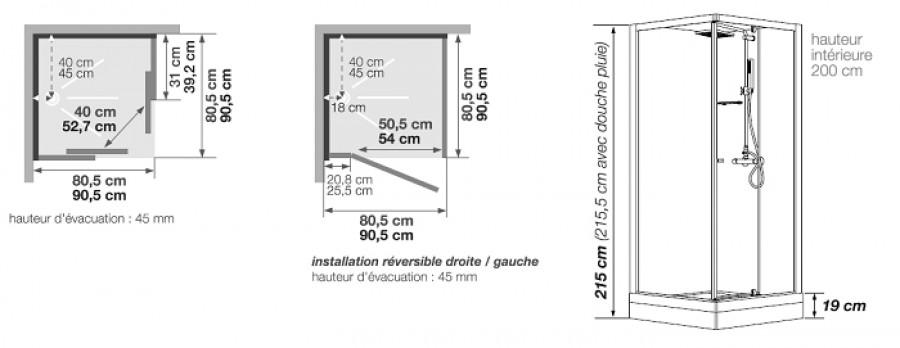 Cabine de douche eden carr porte pivotante 80x80 - Dimension porte douche ...