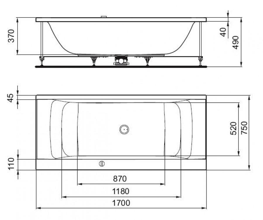 Baignoire rectangulaire nue connect 170x75 avec trop plein for Dimension baignoire sabot
