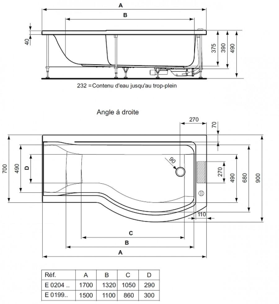 baignoire douche asym trique nue connect droite meuble de salle de bain. Black Bedroom Furniture Sets. Home Design Ideas