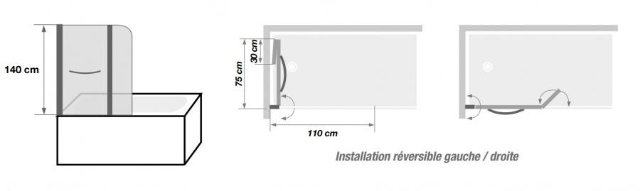pare baignoire 2 panneaux pivotant et relevable 110x140cm. Black Bedroom Furniture Sets. Home Design Ideas