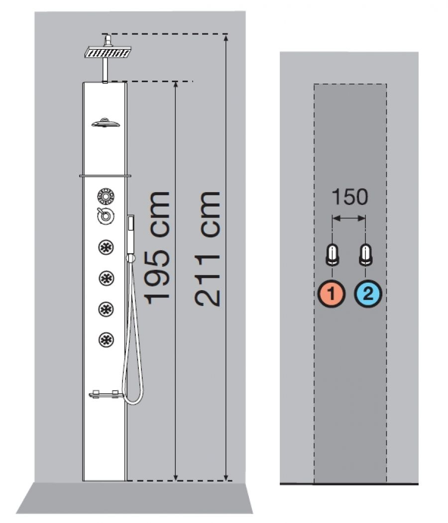Colonne de douche cascata 1 noir mitigeur thermostatique - Installation colonne de douche hauteur ...