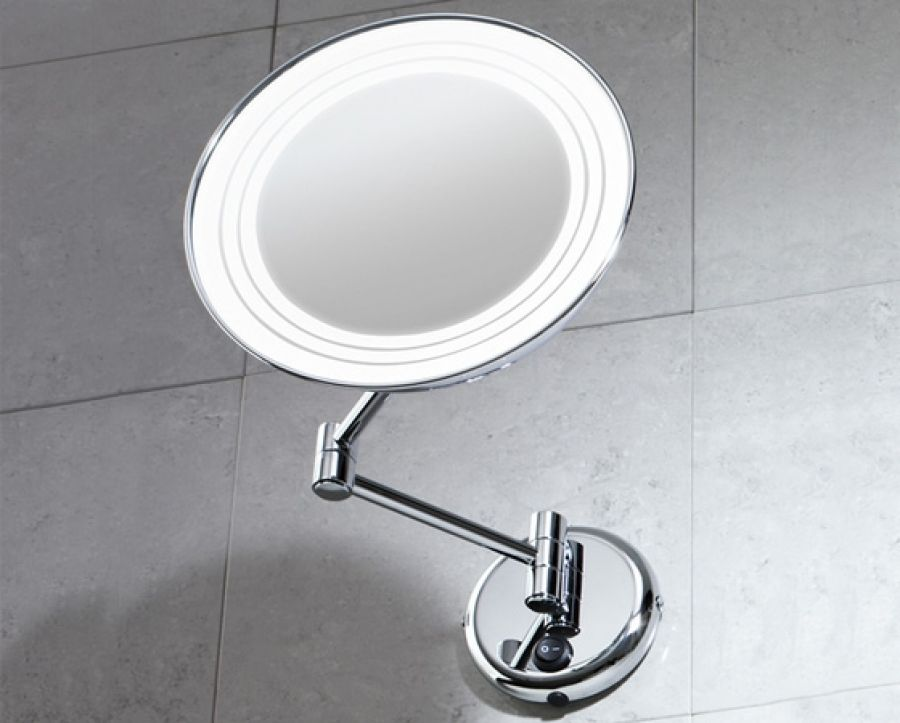 Miroir mural orientable grossissant avec eclairage 2116 for Miroir orientable