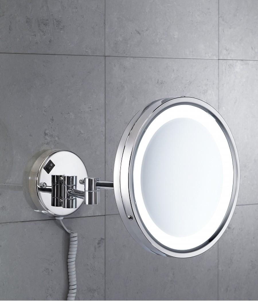 Miroir mural orientable grossissant avec eclairage led for Eclairage miroir led