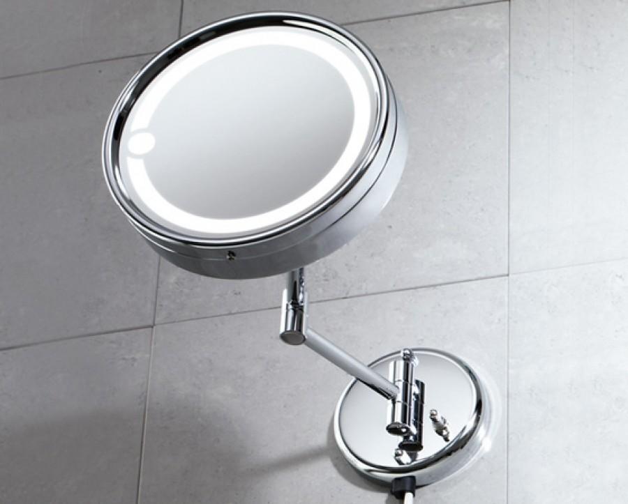 Miroir mural orientable grossissant avec eclairage 2105 - Miroir grossissant salle de bain mural ...