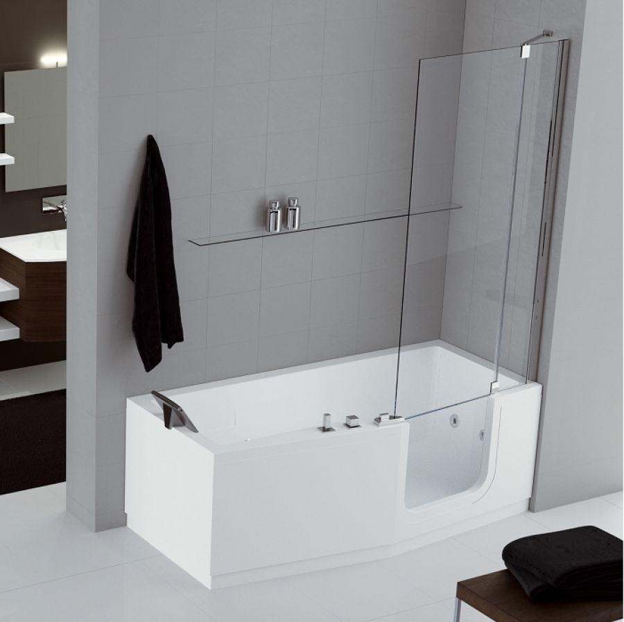 combin bain douche iris 170x70 80 version droite 2 tabliers meuble de salle. Black Bedroom Furniture Sets. Home Design Ideas