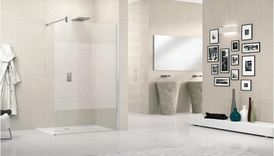 paroi de douche fixe lunes h 100cm serigraphie meuble de salle de bain. Black Bedroom Furniture Sets. Home Design Ideas