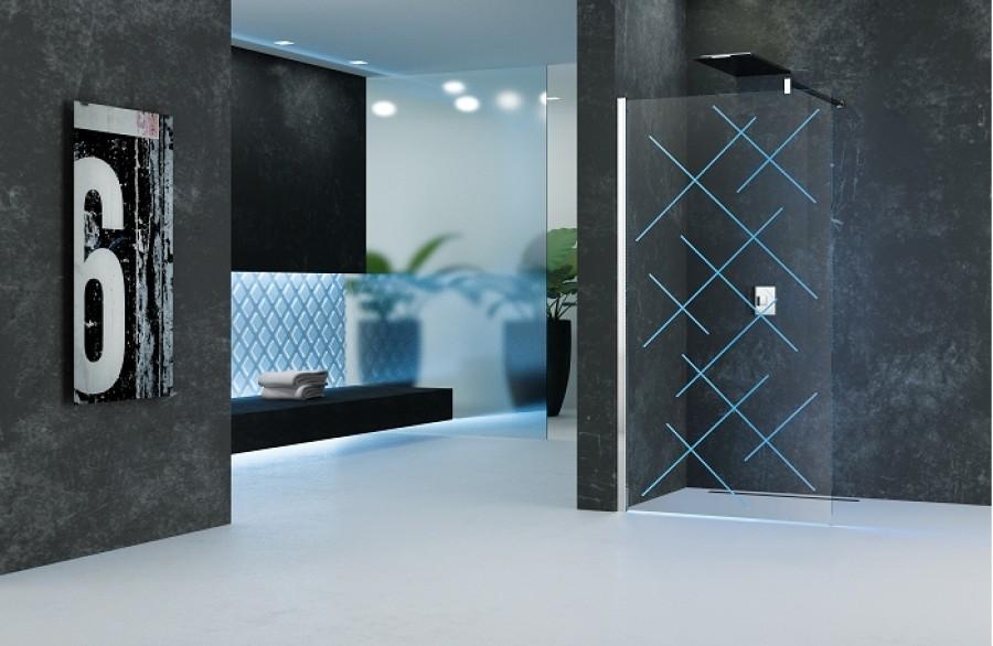 paroi de douche fixe kuadra h led 80cm version. Black Bedroom Furniture Sets. Home Design Ideas