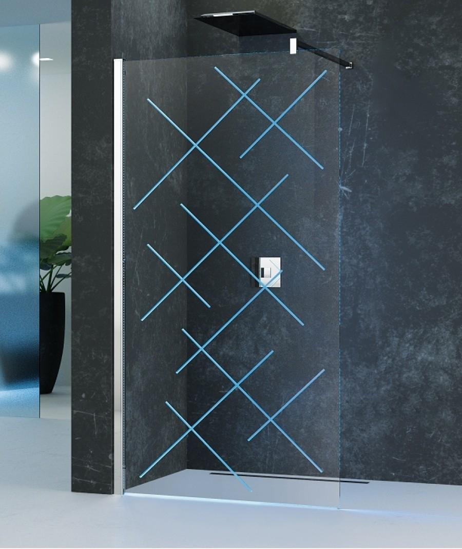 paroi de douche fixe kuadra h led 80cm version meuble de salle de bain. Black Bedroom Furniture Sets. Home Design Ideas