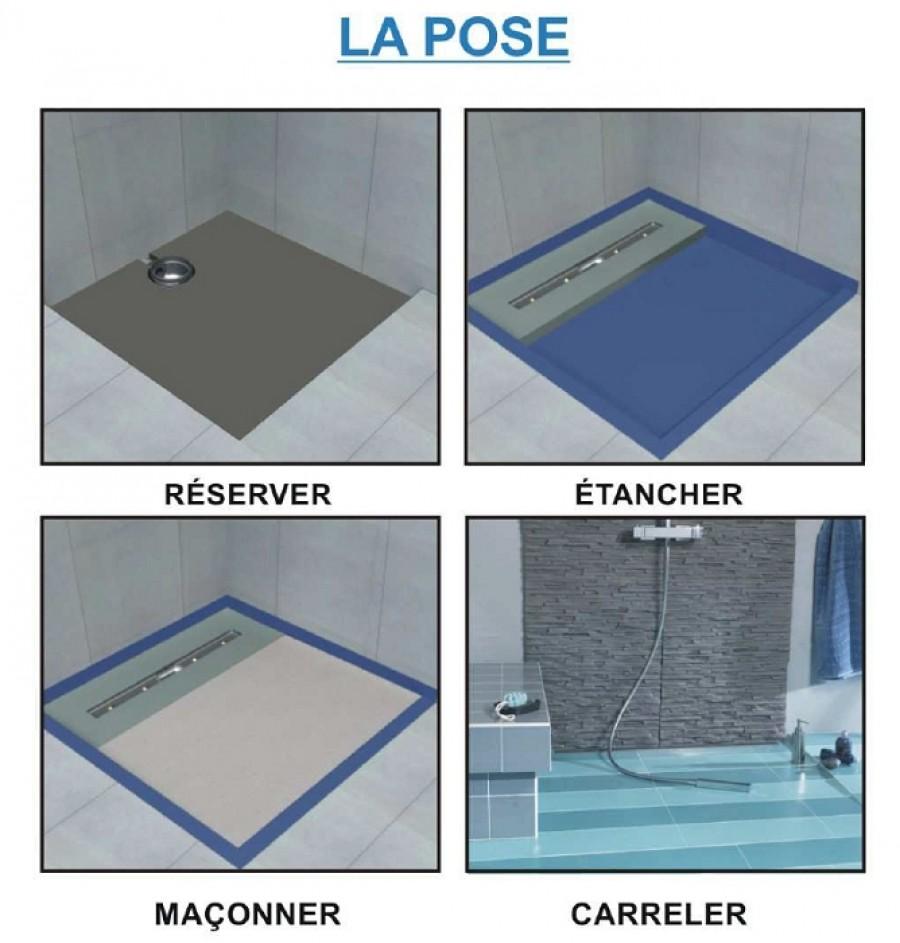 receveur de douche isotanche lineal 120x200 sortie meuble de salle de. Black Bedroom Furniture Sets. Home Design Ideas