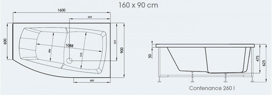 Baignoire baln o pure design 160x90 version gauche concept for Baignoire rectangulaire 160x90