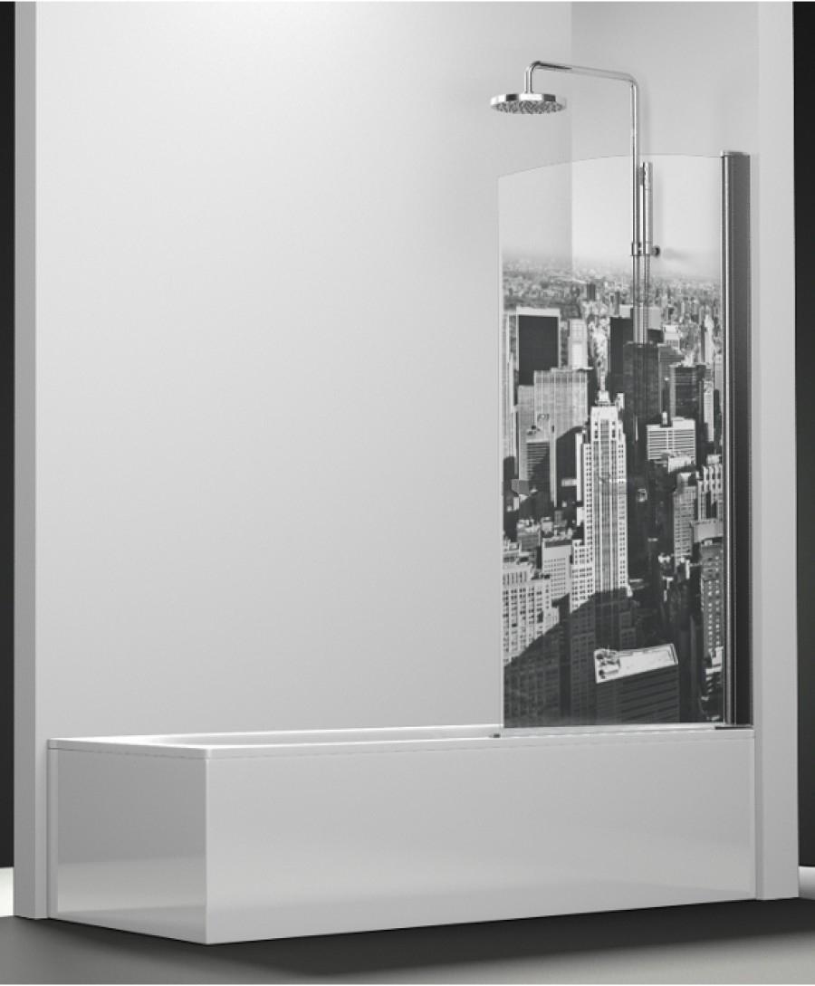 pare bain arcoiris pivotant impression manhattan 90x150 meuble de salle de. Black Bedroom Furniture Sets. Home Design Ideas