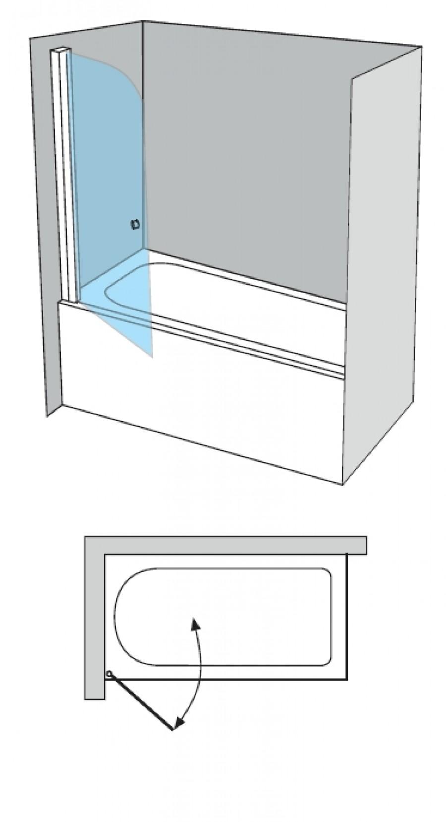 pare bain arcoiris pivotant verre fum sabl aqua 90x150. Black Bedroom Furniture Sets. Home Design Ideas