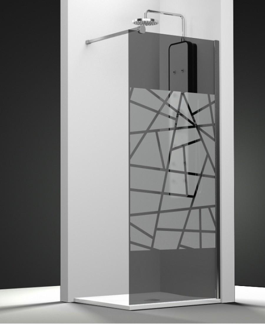 paroi de douche fixe one verre fum sabl rayas 30cm meuble de salle de. Black Bedroom Furniture Sets. Home Design Ideas