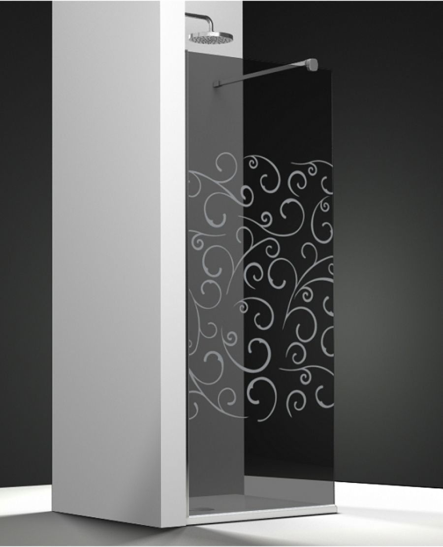 paroi de douche fixe one verre fum sabl volutas 120cm meuble de salle de. Black Bedroom Furniture Sets. Home Design Ideas