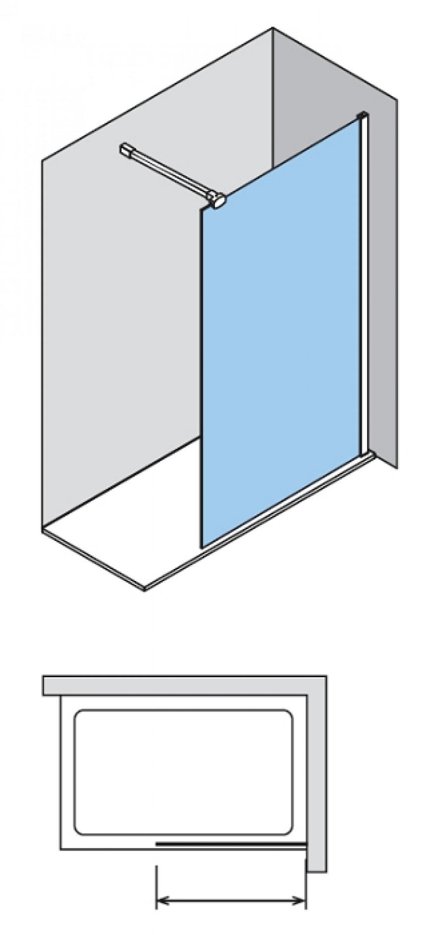 paroi de douche fixe one verre transparent sabl aqua 30cm. Black Bedroom Furniture Sets. Home Design Ideas
