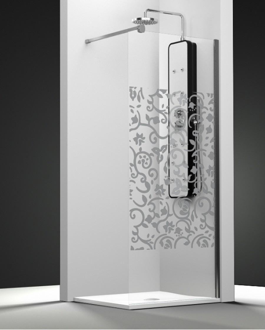 paroi de douche fixe one verre transparent sabl baroque 30cm meuble de. Black Bedroom Furniture Sets. Home Design Ideas
