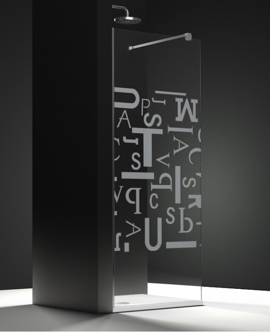Paroi de douche fixe one verre transparent sabl caract res 40cm gauchesanita - Paroi douche fixe 40 cm ...