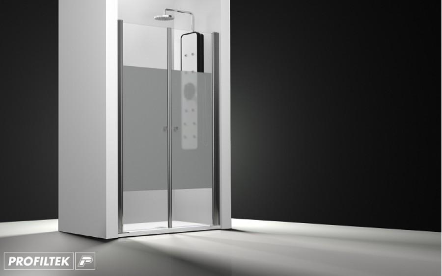 Porte de douche 2 panneaux battants verre transparent bande sabl e 150cmsanit - Porte douche battant ...